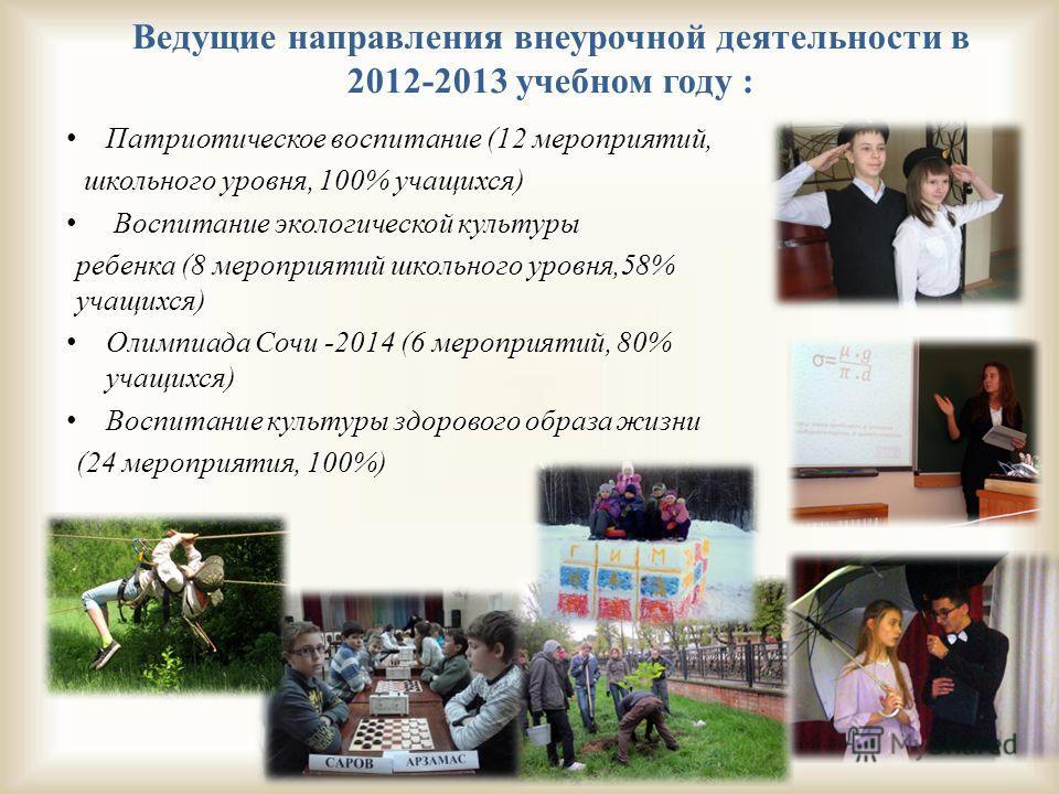 Ведущие направления внеурочной деятельности в 2012-2013 учебном году : Патриотическое воспитание (12 мероприятий, Патриотическое воспитание (12 мероприятий, школьного уровня, 100% учащихся) школьного уровня, 100% учащихся) Воспитание экологической ку