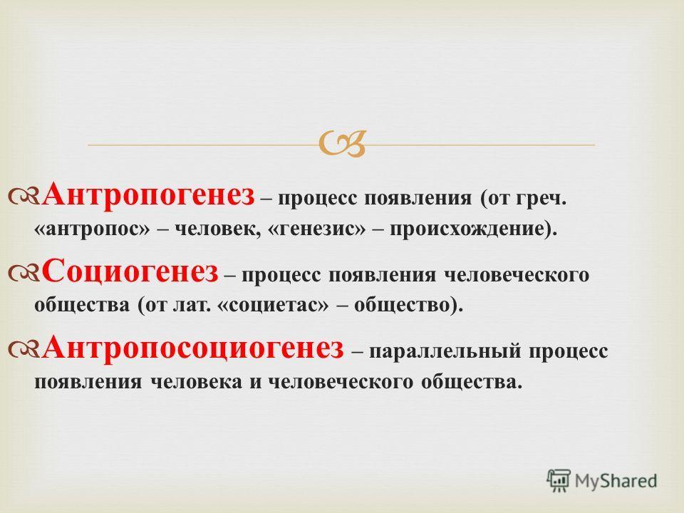 Антропогенез – процесс появления ( от греч. « антропос » – человек, « генезис » – происхождение ). Социогенез – процесс появления человеческого общества ( от лат. « социетас » – общество ). Антропосоциогенез – параллельный процесс появления человека