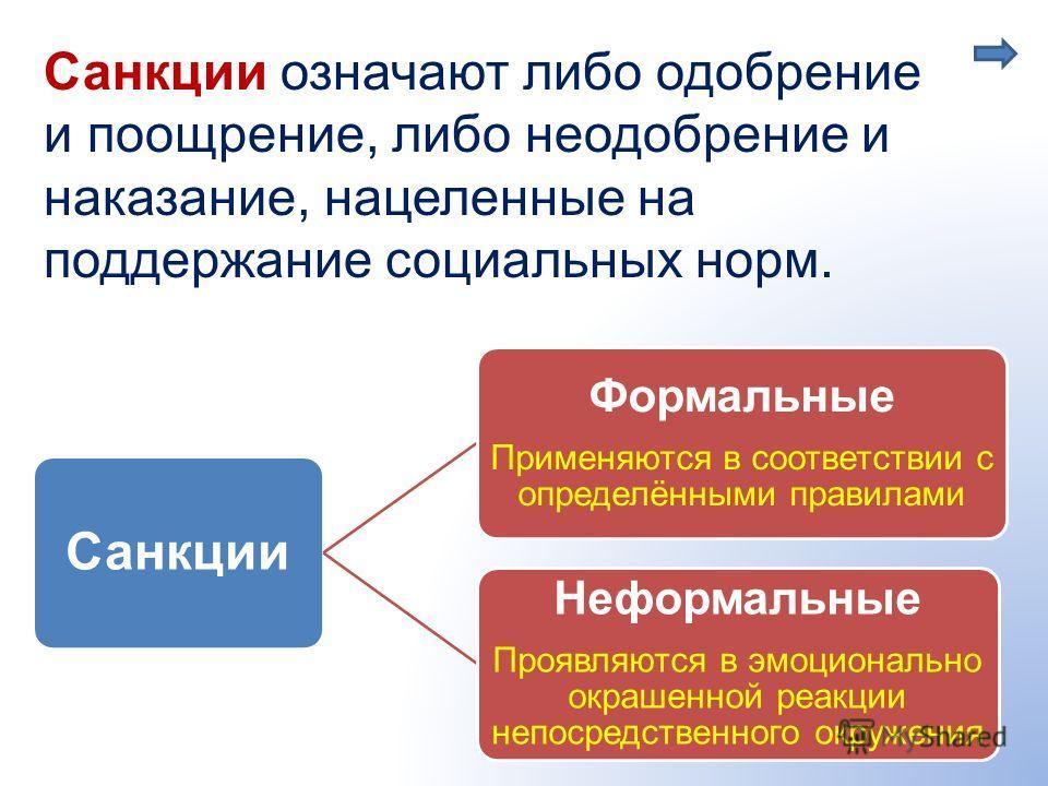 Санкции означают либо одобрение и поощрение, либо неодобрение и наказание, нацеленные на поддержание социальных норм. Санкции Формальные Применяются в соответствии с определёнными правилами Неформальные Проявляются в эмоционально окрашенной реакции н