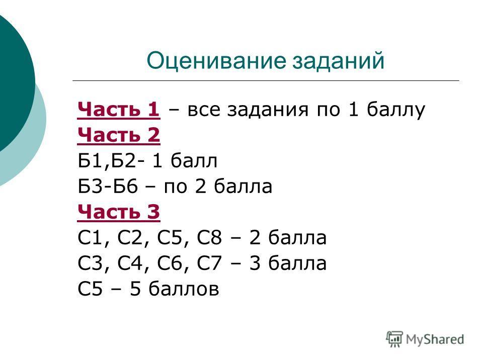 Оценивание заданий Часть 1 – все задания по 1 баллу Часть 2 Б1,Б2- 1 балл Б3-Б6 – по 2 балла Часть 3 С1, С2, С5, С8 – 2 балла С3, С4, С6, С7 – 3 балла С5 – 5 баллов