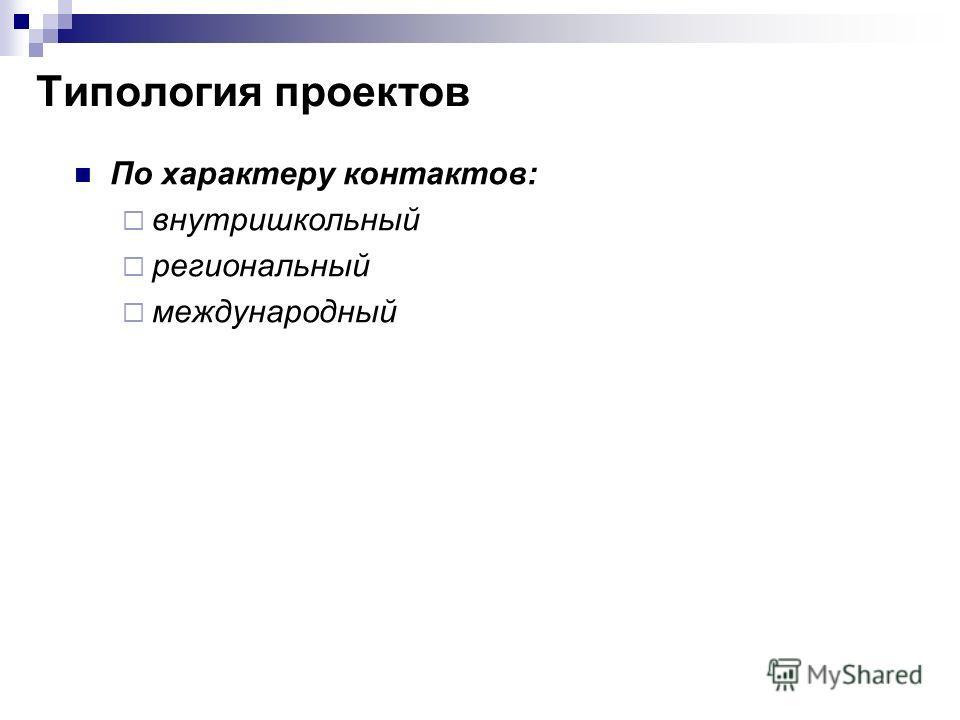 По характеру контактов: внутришкольный региональный международный Типология проектов