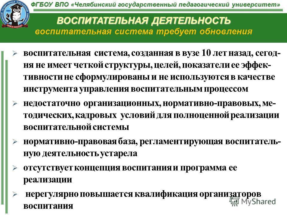 ФГБОУ ВПО «Челябинский государственный педагогический университет» ВОСПИТАТЕЛЬНАЯ ДЕЯТЕЛЬНОСТЬ ВОСПИТАТЕЛЬНАЯ ДЕЯТЕЛЬНОСТЬ воспитательная система требует обновления воспитательная система, созданная в вузе 10 лет назад, сегод- ня не имеет четкой стру