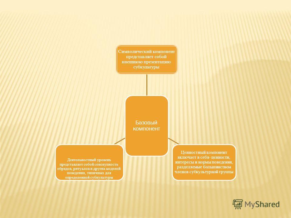 Базовый компонент Символический компонент представляет собой внешнюю презентацию субкультуры Ценностный компонент включает в себя- ценности, интересы и нормы поведения, разделяемые большинством членов субкультурной группы Деятельностный уровень предс