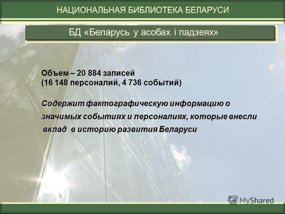 БД «Беларусь у асобах і падзеях» Объем – 20 884 записей (16 148 персоналий, 4 736 событий) Содержит фактографическую информацию о Содержит фактографическую информацию о значимых событиях и персоналиях, которые внесли вклад в историю развития Беларуси