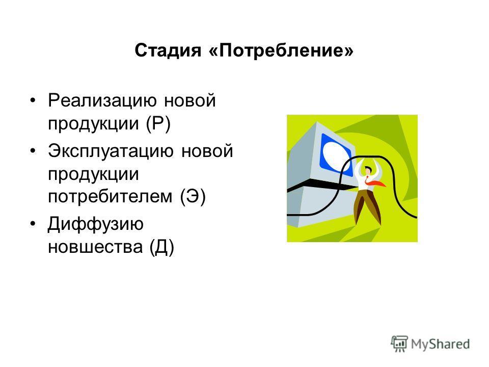 Стадия «Потребление» Реализацию новой продукции (Р) Эксплуатацию новой продукции потребителем (Э) Диффузию новшества (Д)