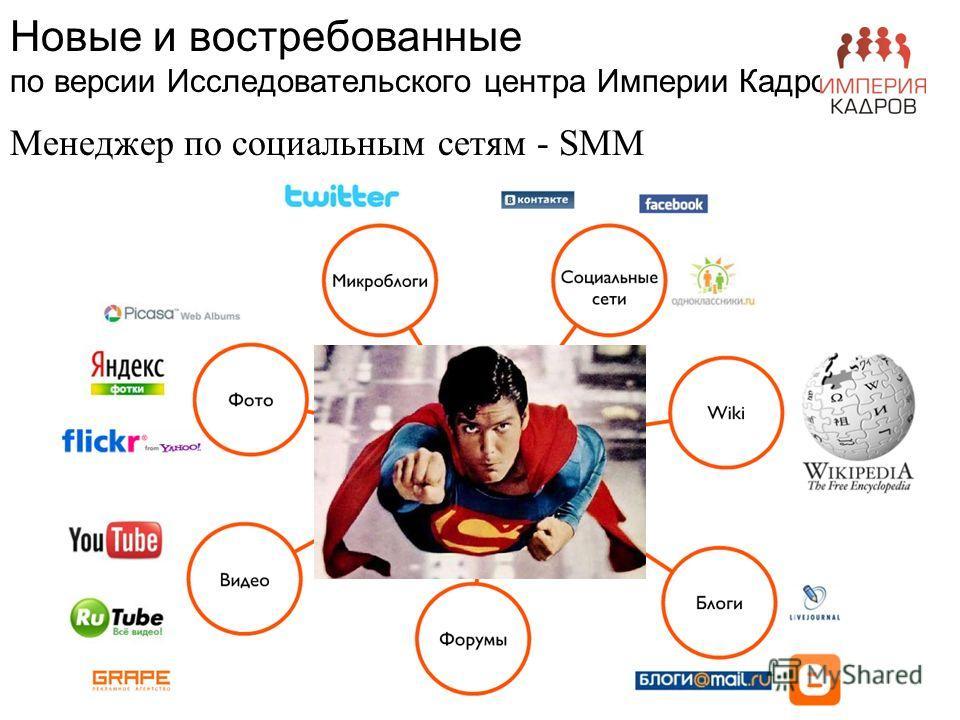Новые и востребованные по версии Исследовательского центра Империи Кадров Менеджер по социальным сетям - SMM