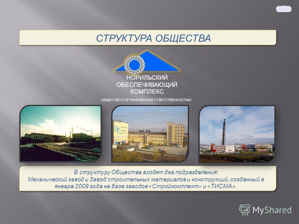 1 СТРУКТУРА ОБЩЕСТВА В структуру Общества входят два подразделения: Механический завод и Завод строительных материалов и конструкций, созданный в январе 2009 года на базе заводов «Стройкомплект» и «ТИСМА». В структуру Общества входят два подразделени