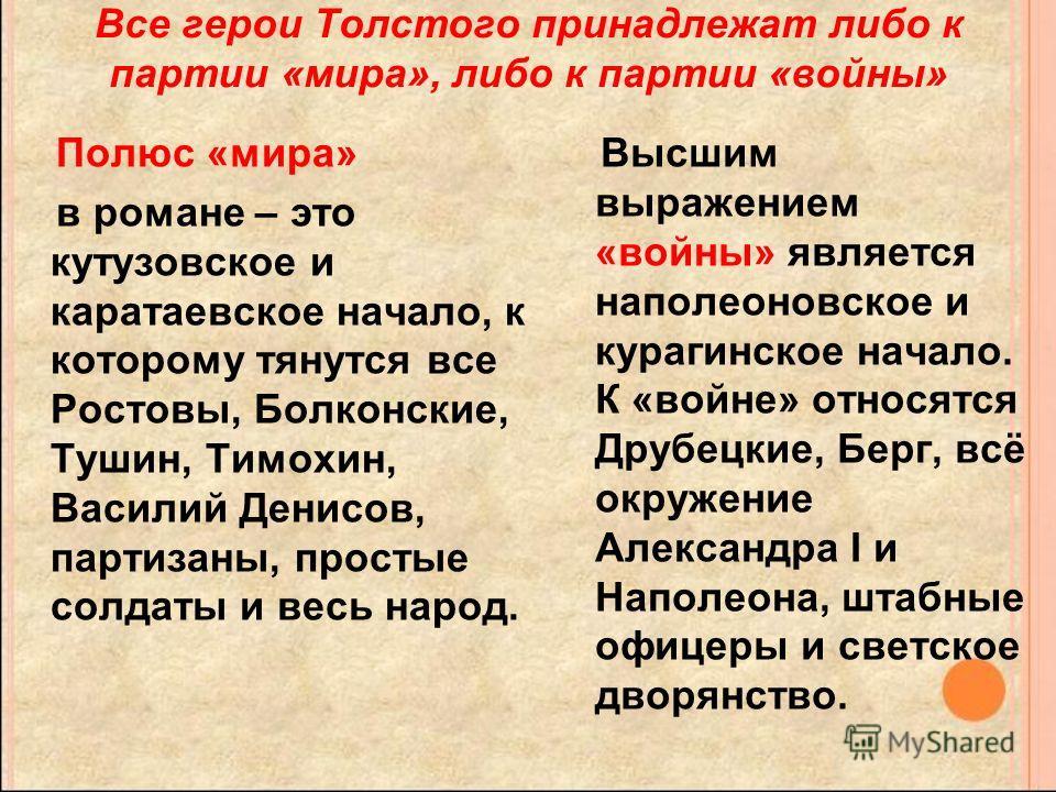 Все герои Толстого принадлежат либо к партии «мира», либо к партии «войны» Полюс «мира» в романе – это кутузовское и каратаевское начало, к которому тянутся все Ростовы, Болконские, Тушин, Тимохин, Василий Денисов, партизаны, простые солдаты и весь н