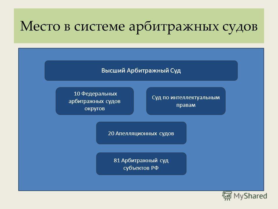 Место в системе арбитражных судов Высший Арбитражный Суд Суд по интеллектуальным правам 10 Федеральных арбитражных судов округов 20 Апелляционных судов 81 Арбитражный суд субъектов РФ