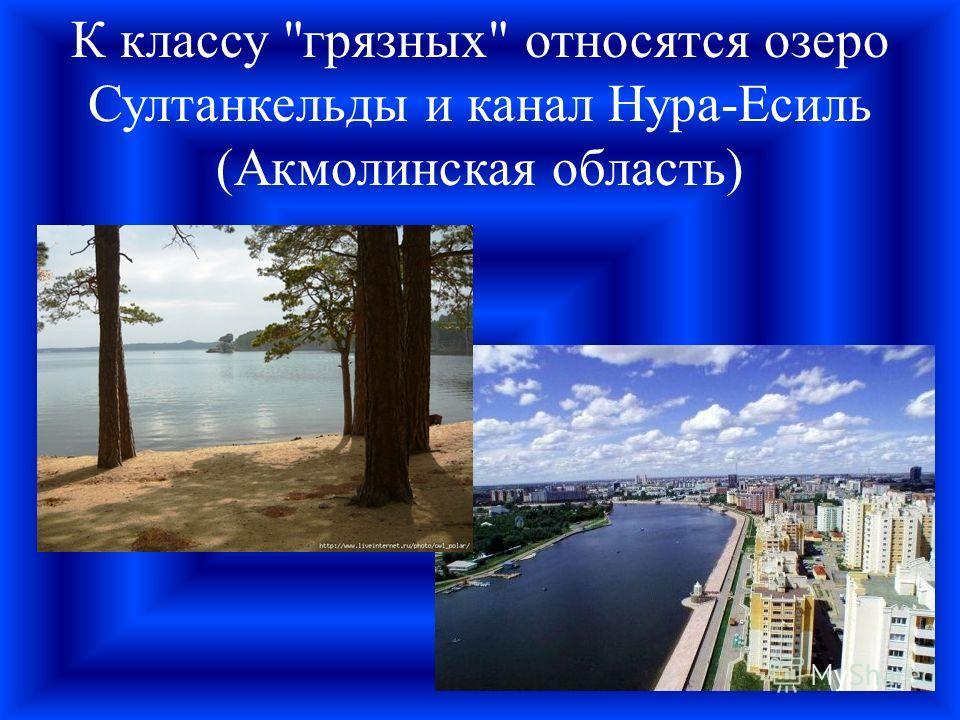 К классу грязных относятся озеро Султанкельды и канал Нура-Есиль (Акмолинская область)