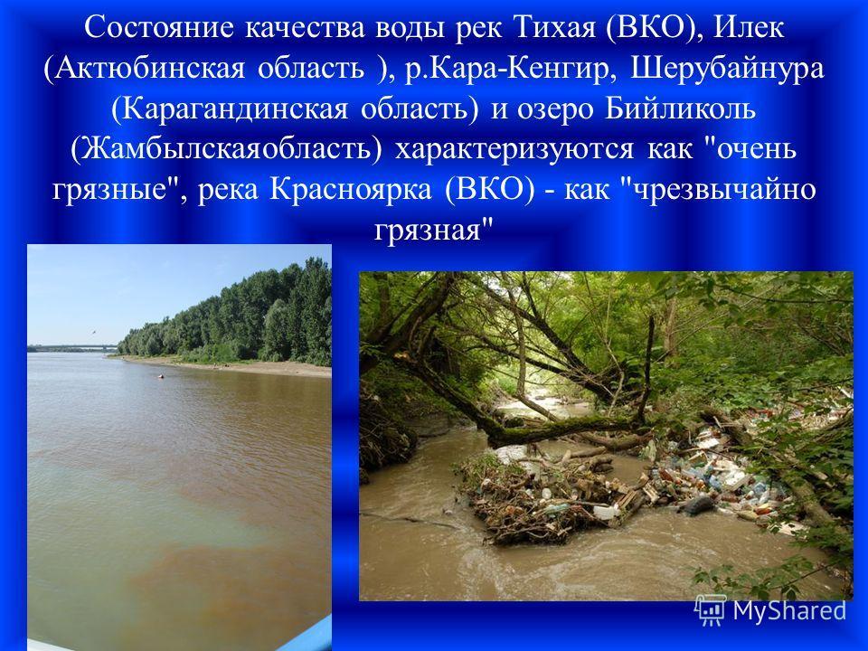 Состояние качества воды рек Тихая (ВКО), Илек (Актюбинская область ), р.Кара-Кенгир, Шерубайнура (Карагандинская область) и озеро Бийликоль (Жамбылскаяобласть) характеризуются как очень грязные, река Красноярка (ВКО) - как чрезвычайно грязная