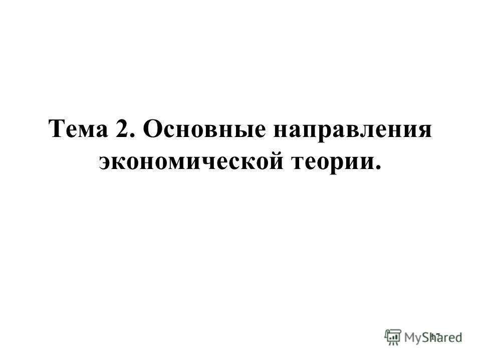17 Тема 2. Основные направления экономической теории.