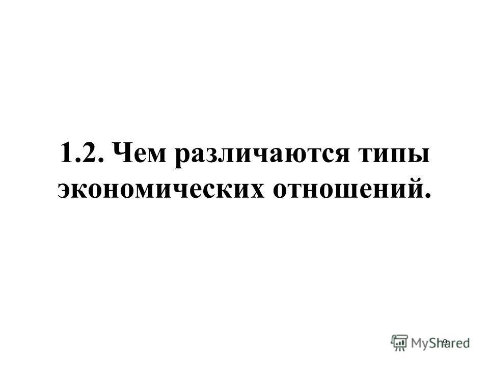 9 1.2. Чем различаются типы экономических отношений.