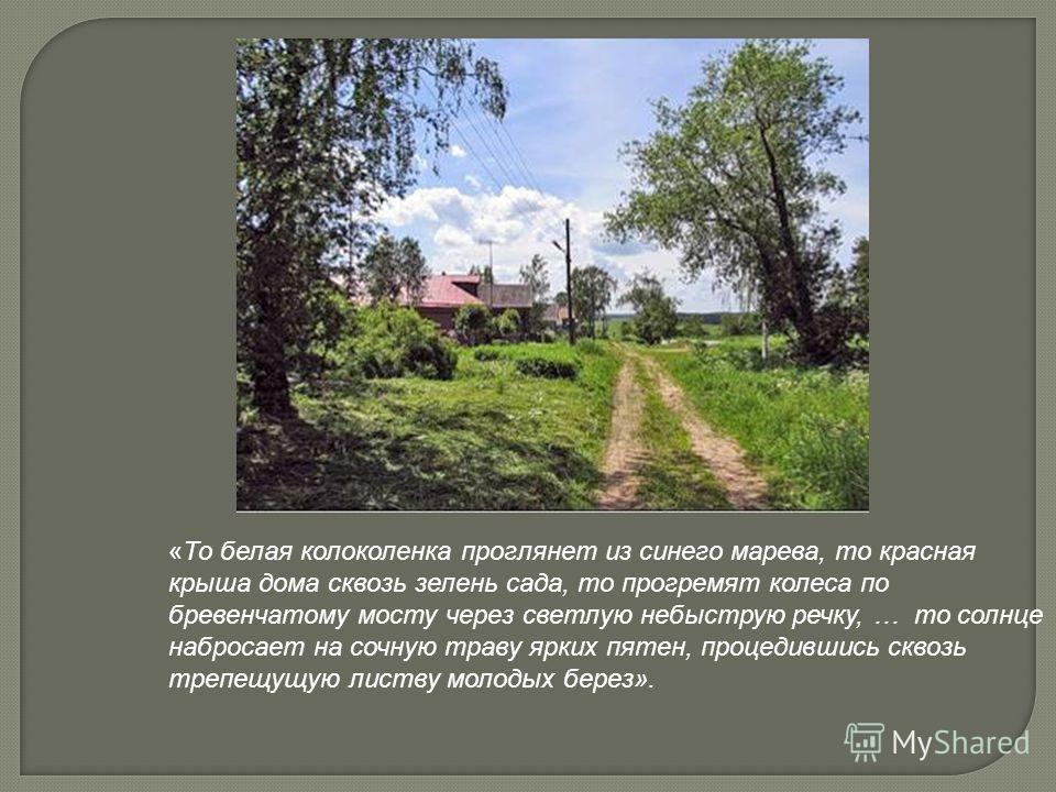 «То белая колоколенка проглянет из синего марева, то красная крыша дома сквозь зелень сада, то прогремят колеса по бревенчатому мосту через светлую небыструю речку, … то солнце набросает на сочную траву ярких пятен, процедившись сквозь трепещущую лис