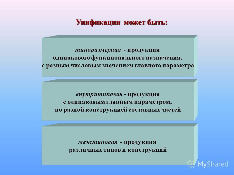 - типоразмерная - продукция одинакового функционального назначения, с разным числовым значением главного параметра внутритиповая - продукция с одинаковым главным параметром, но разной конструкцией составных частей межтиповая - продукция различных тип