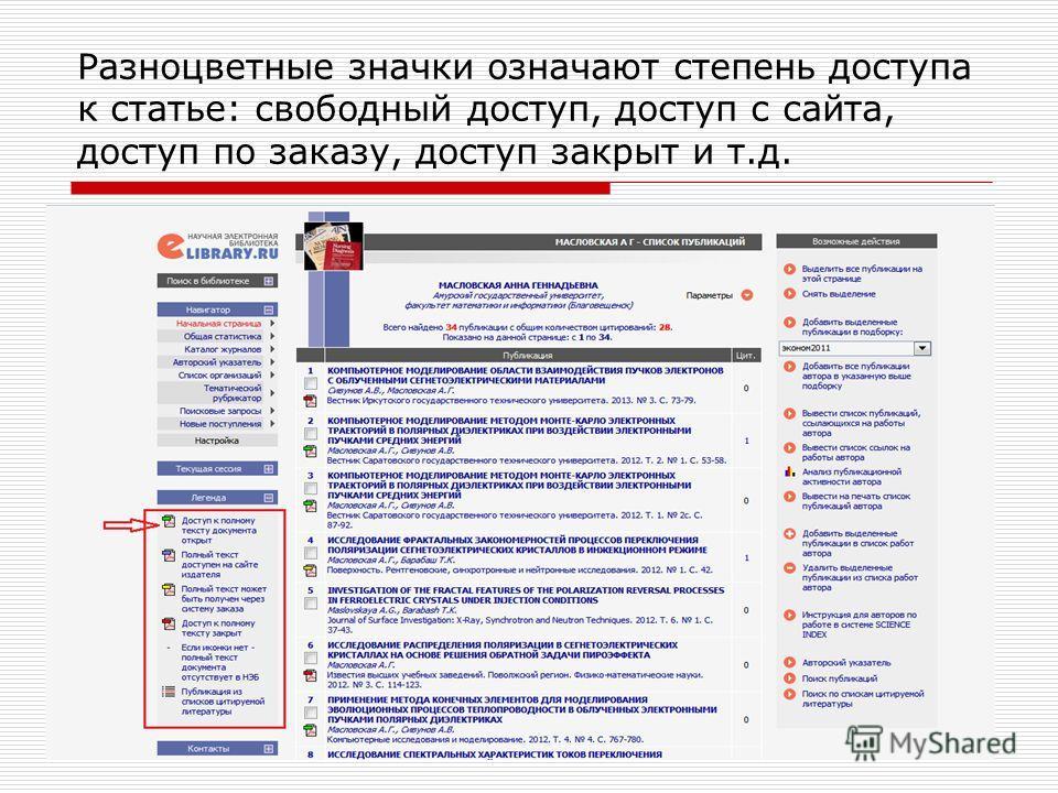 Разноцветные значки означают степень доступа к статье: свободный доступ, доступ с сайта, доступ по заказу, доступ закрыт и т.д.