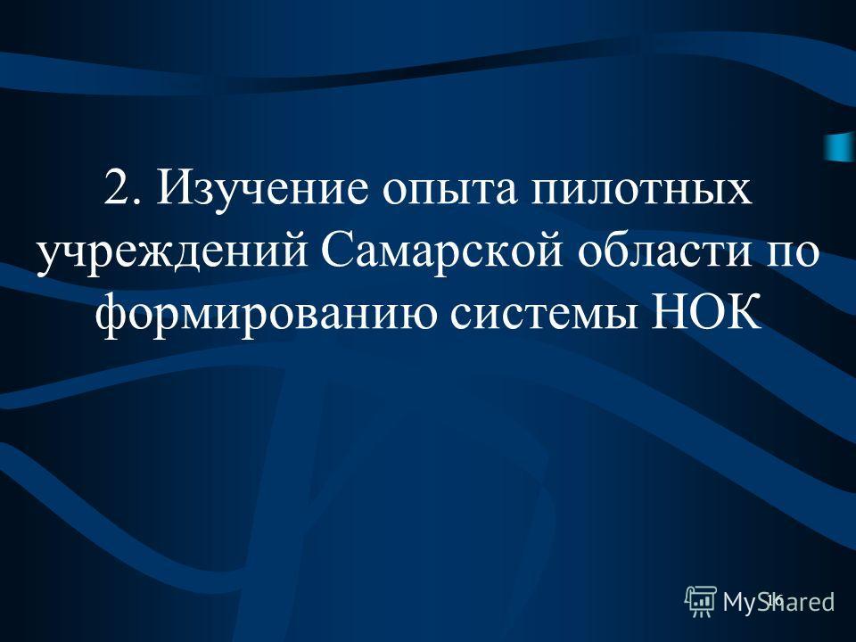 2. Изучение опыта пилотных учреждений Самарской области по формированию системы НОК 16