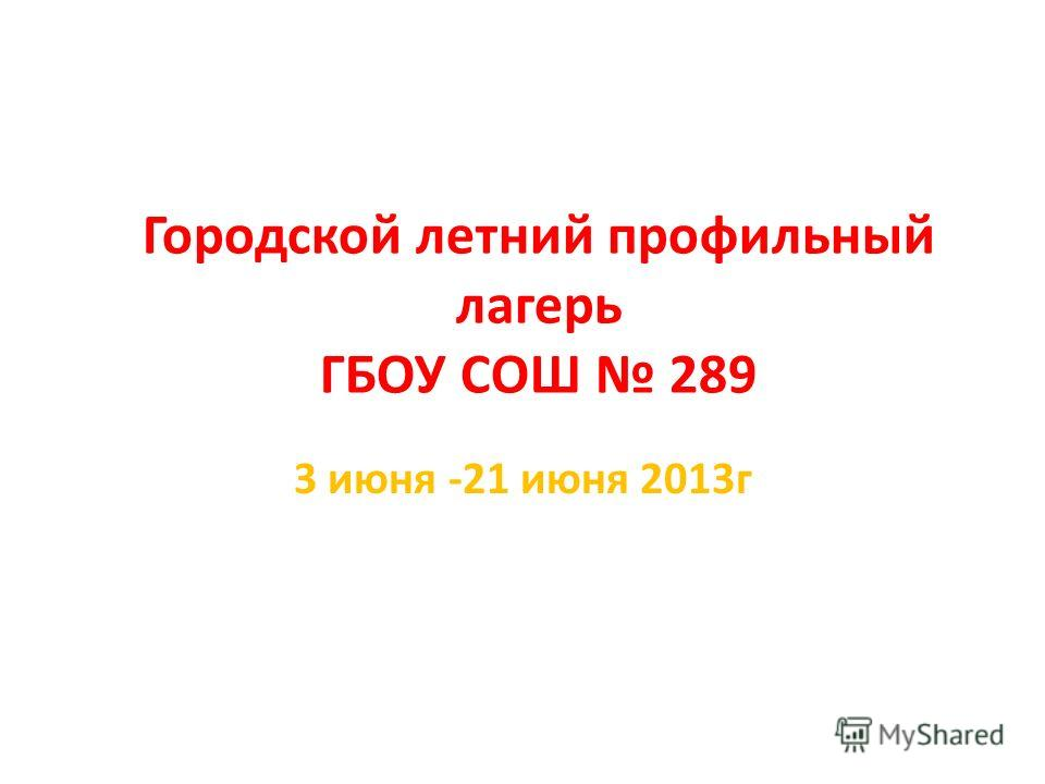 Городской летний профильный лагерь ГБОУ СОШ 289 3 июня -21 июня 2013г