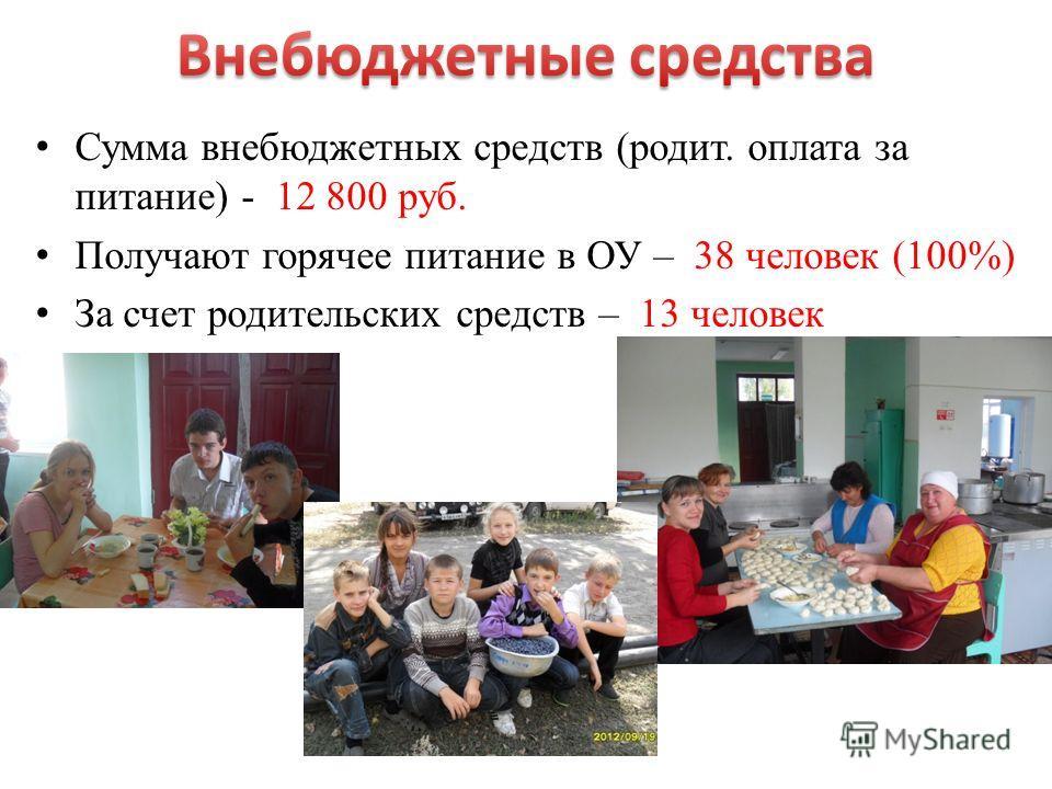 Сумма внебюджетных средств (родит. оплата за питание) - 12 800 руб. Получают горячее питание в ОУ – 38 человек (100%) За счет родительских средств – 13 человек