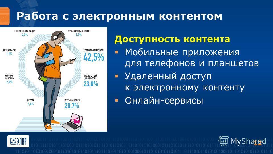 Работа с электронным контентом Доступность контента Мобильные приложения для телефонов и планшетов Удаленный доступ к электронному контенту Онлайн-сервисы 12