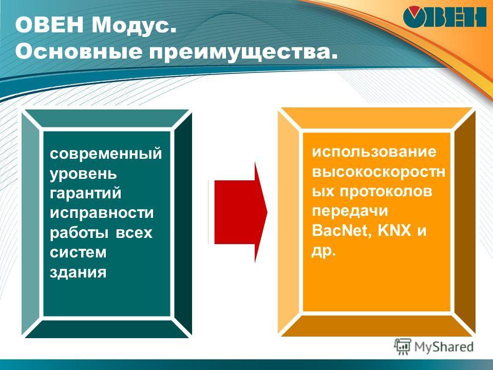 ОВЕН Модус. Основные преимущества. современный уровень гарантий исправности работы всех систем здания использование высокоскоростн ых протоколов передачи BacNet, KNX и др.