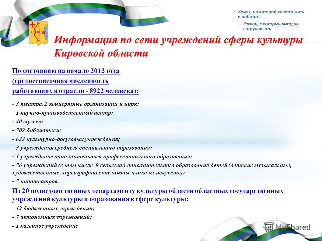 Информация по сети учреждений сферы культуры Кировской области По состоянию на начало 2013 года (среднесписочная численность работающих в отрасли - 8922 человека): - 3 театра, 2 концертные организации и цирк; - 1 научно-производственный центр: - 40 м