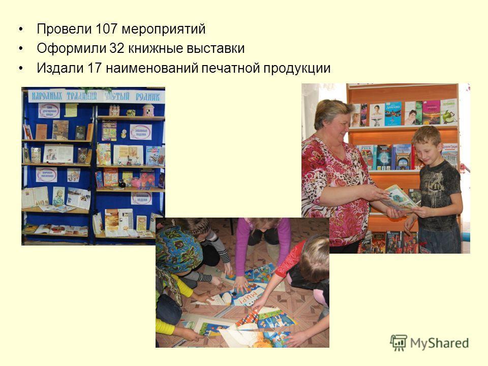 Провели 107 мероприятий Оформили 32 книжные выставки Издали 17 наименований печатной продукции