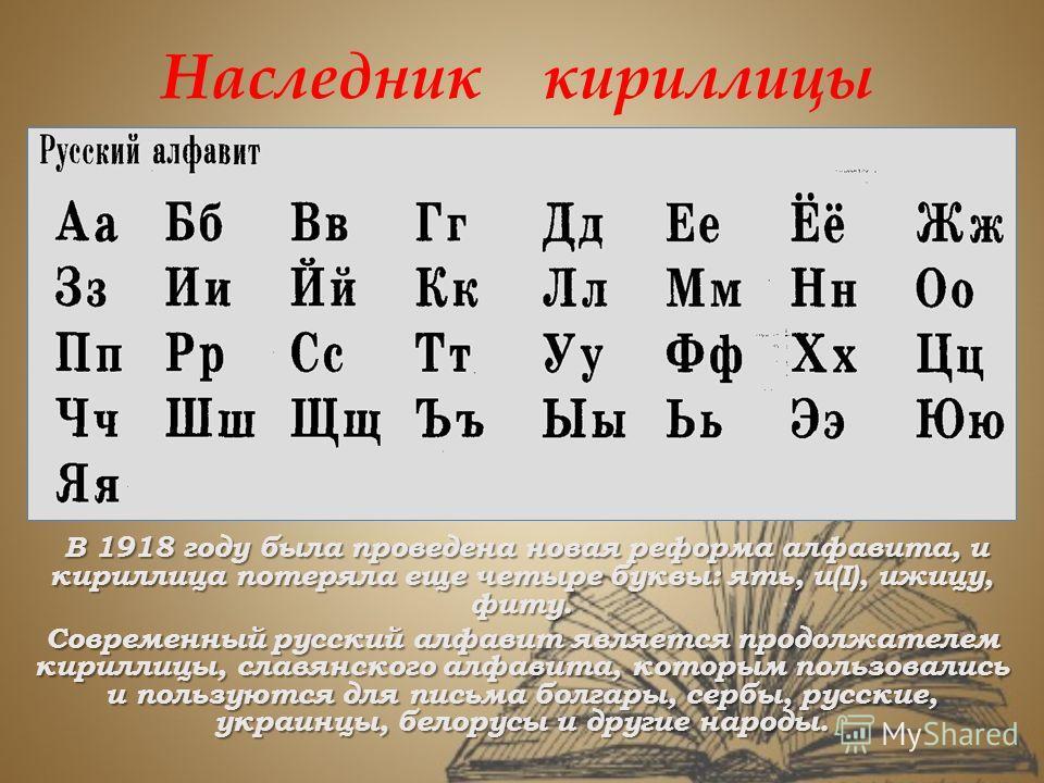 Наследник кириллицы В 1918 году была проведена новая реформа алфавита, и кириллица потеряла еще четыре буквы: ять, и(I), ижицу, фиту. Современный русский алфавит является продолжателем кириллицы, славянского алфавита, которым пользовались и пользуютс