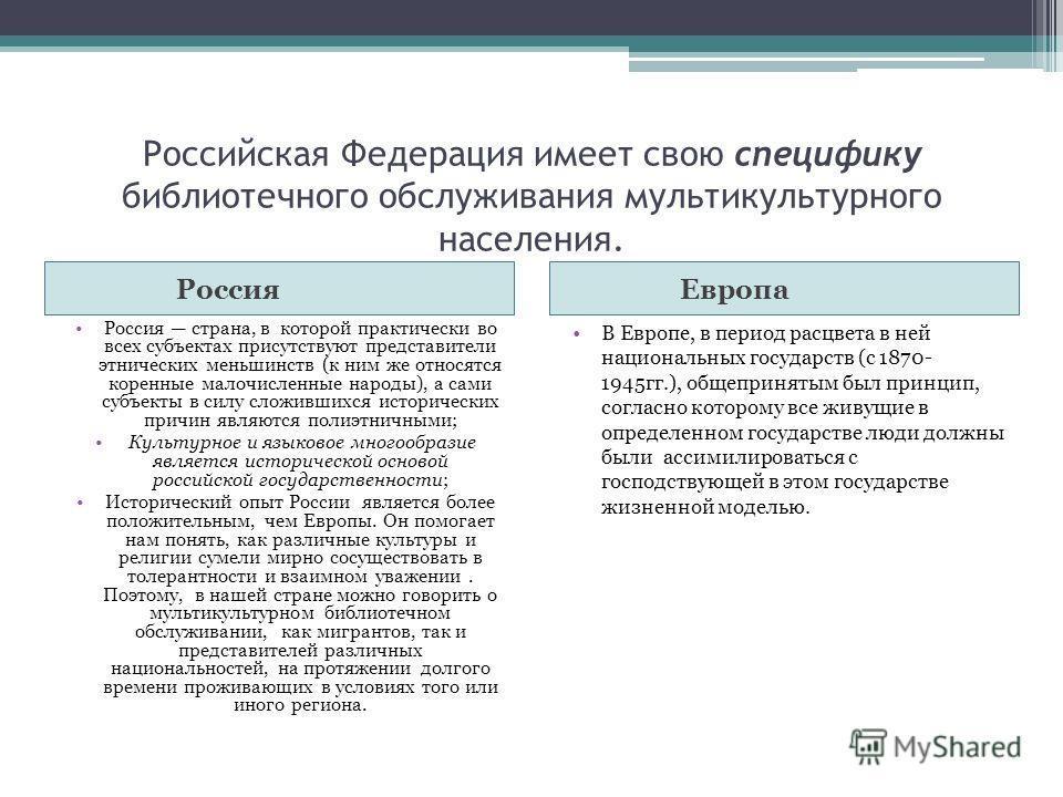 Российская Федерация имеет свою специфику библиотечного обслуживания мультикультурного населения. Россия Европа Россия страна, в которой практически во всех субъектах присутствуют представители этнических меньшинств (к ним же относятся коренные малоч