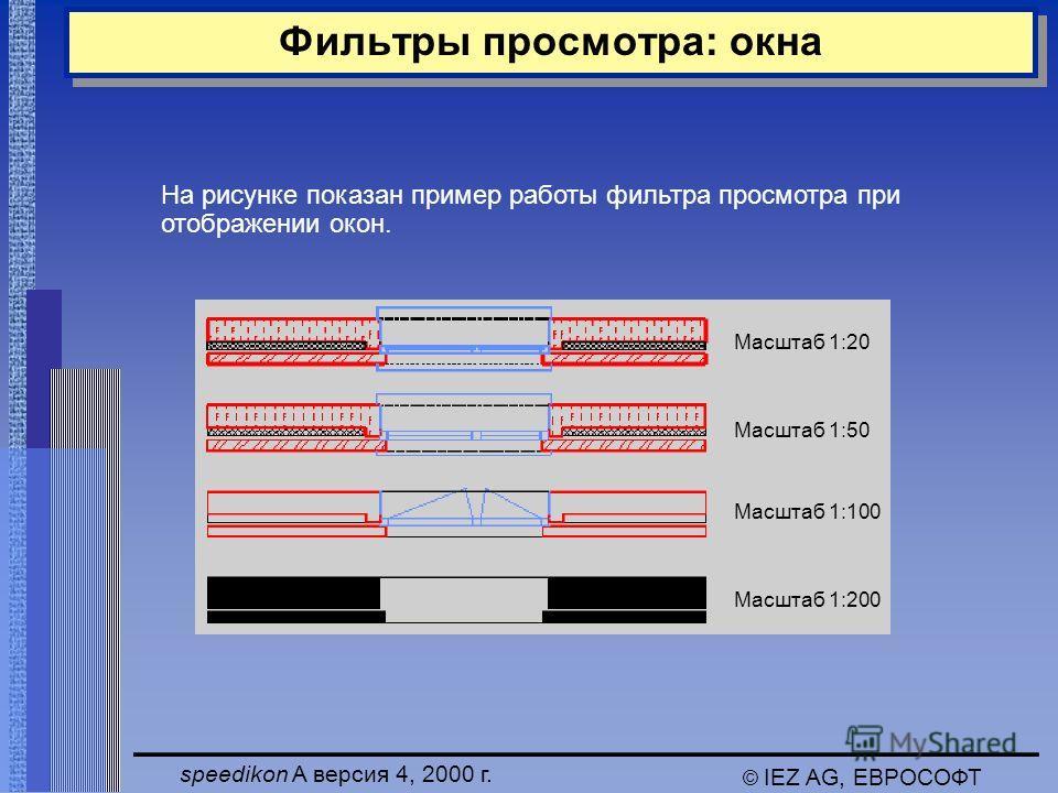 speedikon A версия 4, 2000 г. © IEZ AG, ЕВРОСОФТ Фильтры просмотра: окна На рисунке показан пример работы фильтра просмотра при отображении окон. Масштаб 1:20 Масштаб 1:50 Масштаб 1:100 Масштаб 1:200