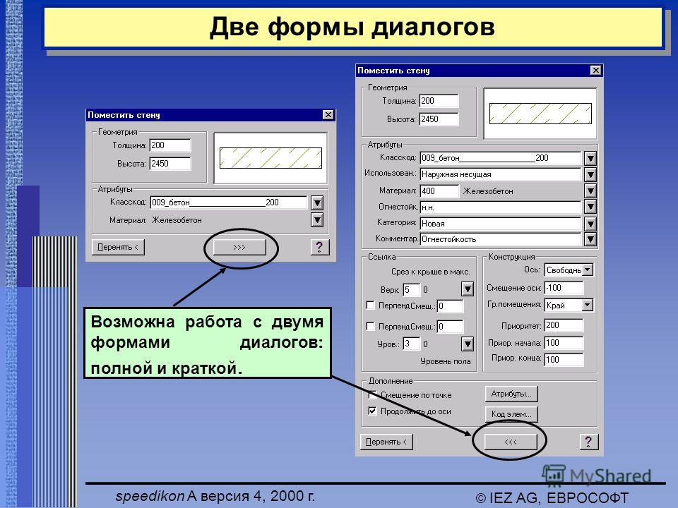 speedikon A версия 4, 2000 г. © IEZ AG, ЕВРОСОФТ Две формы диалогов Возможна работа с двумя формами диалогов : полной и краткой.