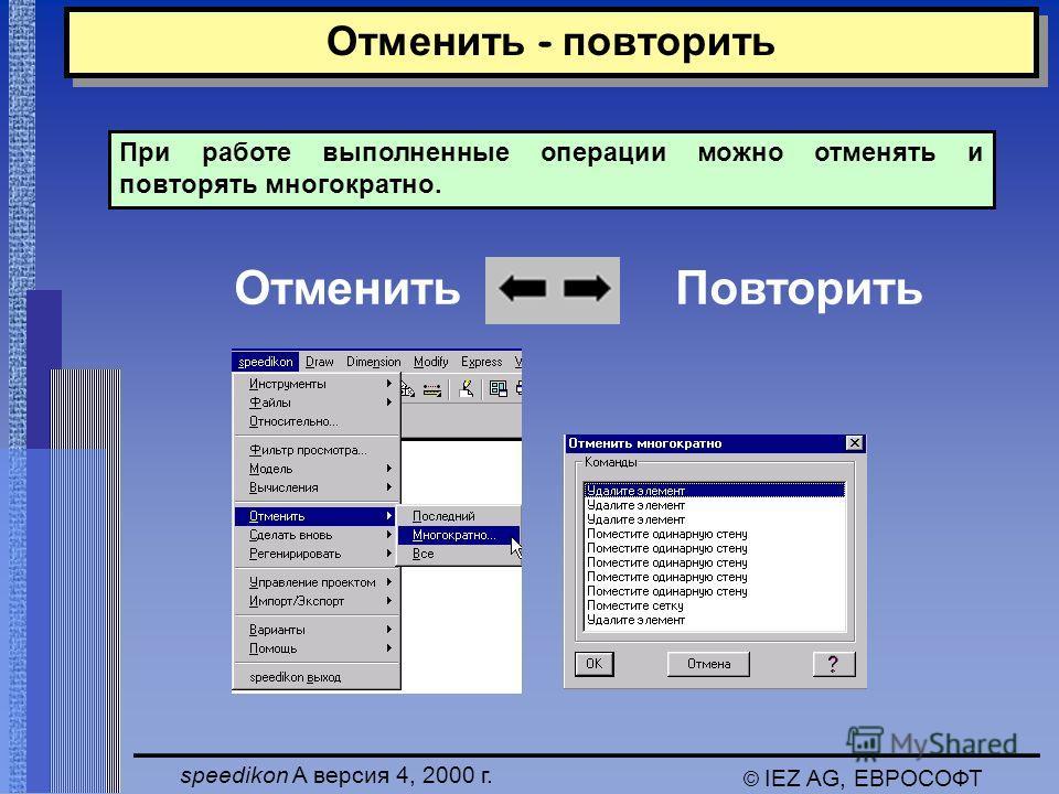 speedikon A версия 4, 2000 г. © IEZ AG, ЕВРОСОФТ Отменить - повторить Отменить Повторить При работе выполненные операции можно отменять и повторять многократно.