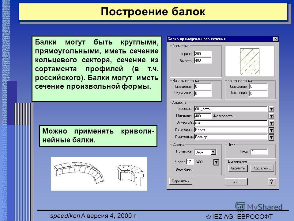 speedikon A версия 4, 2000 г. © IEZ AG, ЕВРОСОФТ Балки могут быть круглыми, прямоугольными, иметь сечение кольцевого сектора, сечение из сортамента профилей (в т.ч. российского). Балки могут иметь сечение произвольной формы. Можно применять криволи-