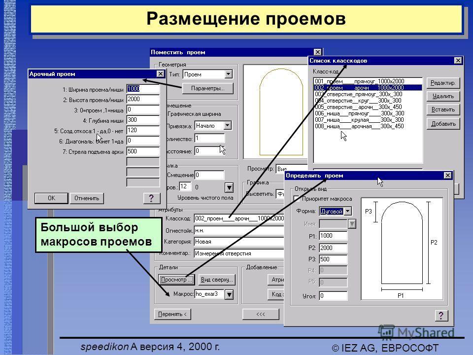 speedikon A версия 4, 2000 г. © IEZ AG, ЕВРОСОФТ Размещение проемов Большой выбор макросов проемов