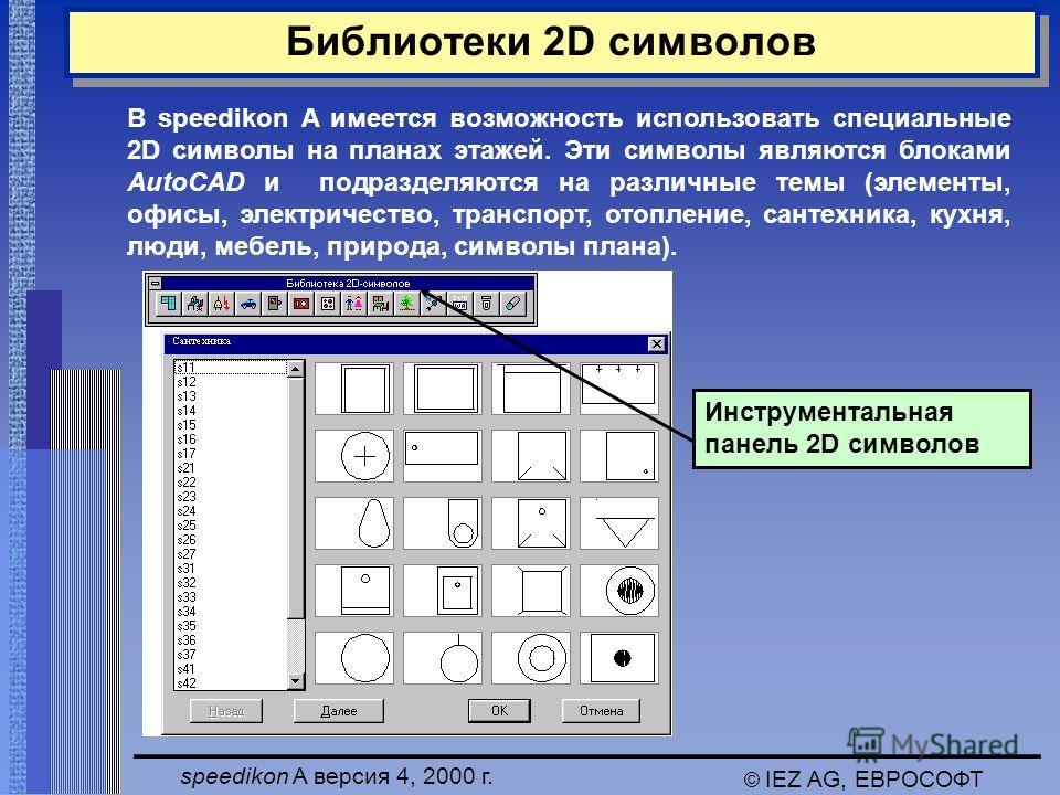 speedikon A версия 4, 2000 г. © IEZ AG, ЕВРОСОФТ Библиотеки 2D символов Инструментальная панель 2D символов В speedikon A имеется возможность использовать специальные 2D символы на планах этажей. Эти символы являются блоками AutoCAD и подразделяются