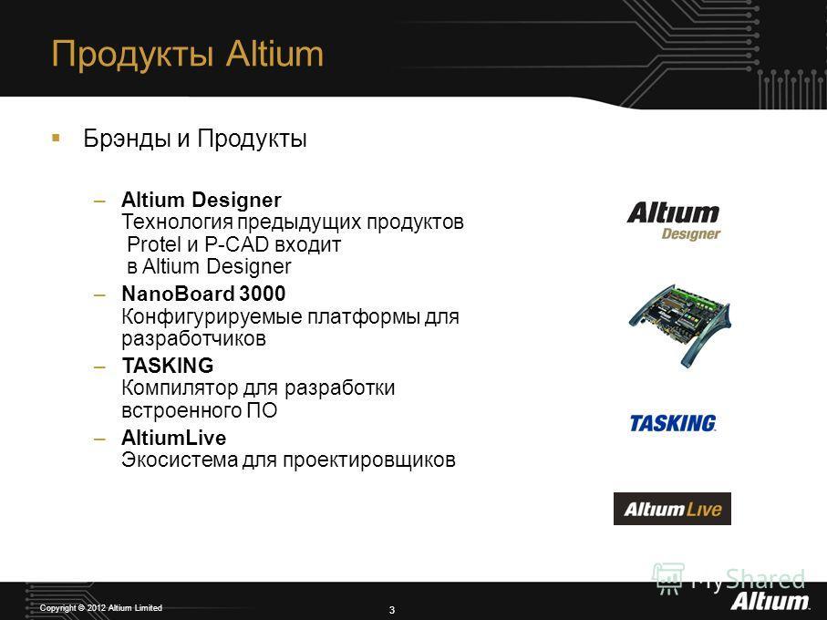 3 Copyright © 2012 Altium Limited Продукты Altium Брэнды и Продукты –Altium Designer Технология предыдущих продуктов Protel и P-CAD входит в Altium Designer –NanoBoard 3000 Конфигурируемые платформы для разработчиков –TASKING Компилятор для разработк