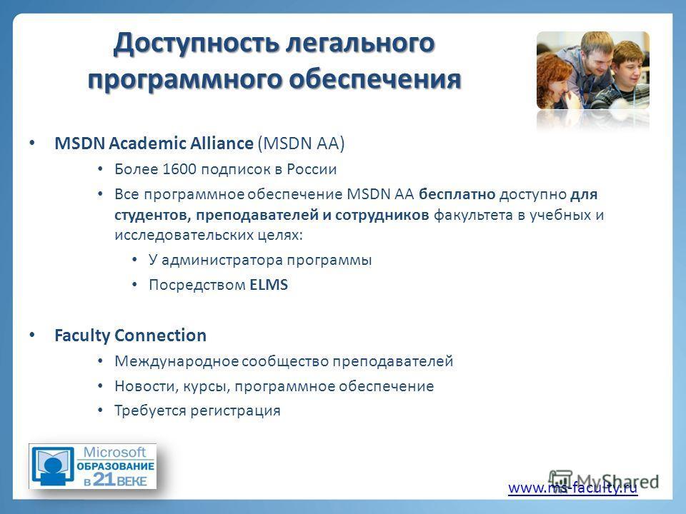Доступность легального программного обеспечения MSDN Academic Alliance (MSDN AA) Более 1600 подписок в России Все программное обеспечение MSDN AA бесплатно доступно для студентов, преподавателей и сотрудников факультета в учебных и исследовательских