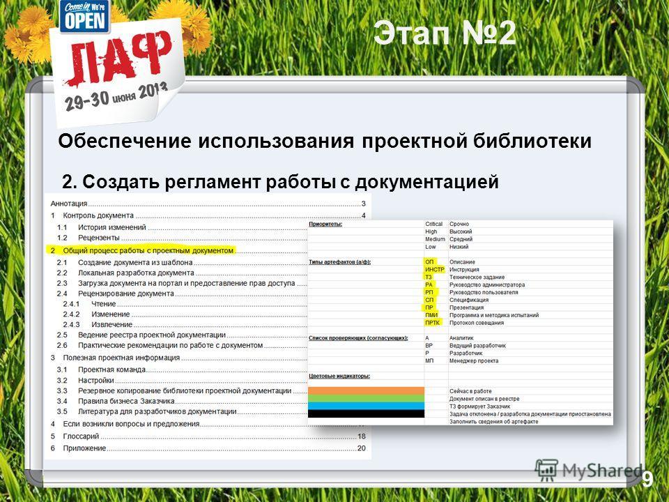 Этап 2 Обеспечение использования проектной библиотеки 2. Создать регламент работы с документацией 9