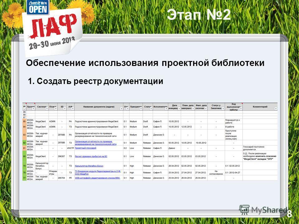 Этап 2 Обеспечение использования проектной библиотеки 1. Создать реестр документации 8