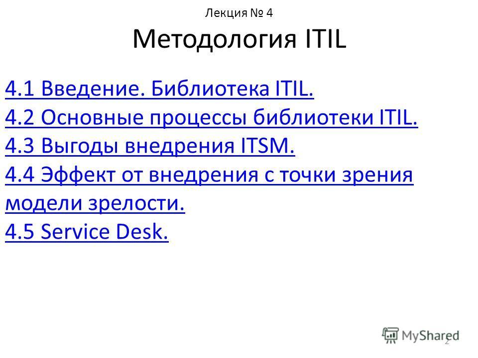 Лекция 4 Методология ITIL 4.1 Введение. Библиотека ITIL. 4.2 Основные процессы библиотеки ITIL. 4.3 Выгоды внедрения ITSM. 4.4 Эффект от внедрения с точки зрения модели зрелости. 4.5 Service Desk. 2