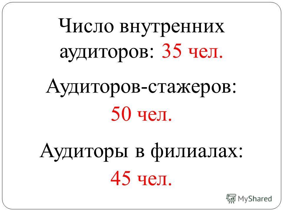 Число внутренних аудиторов: 35 чел. Аудиторов-стажеров: 50 чел. Аудиторы в филиалах: 45 чел.