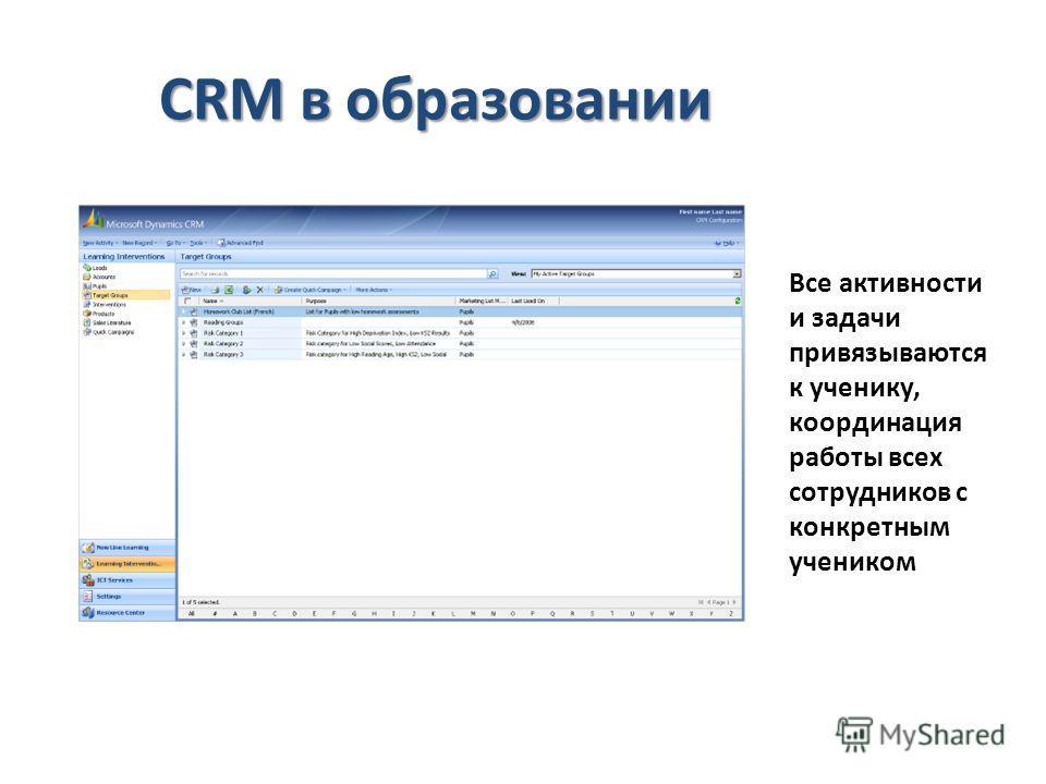 CRM в образовании Все активности и задачи привязываются к ученику, координация работы всех сотрудников с конкретным учеником