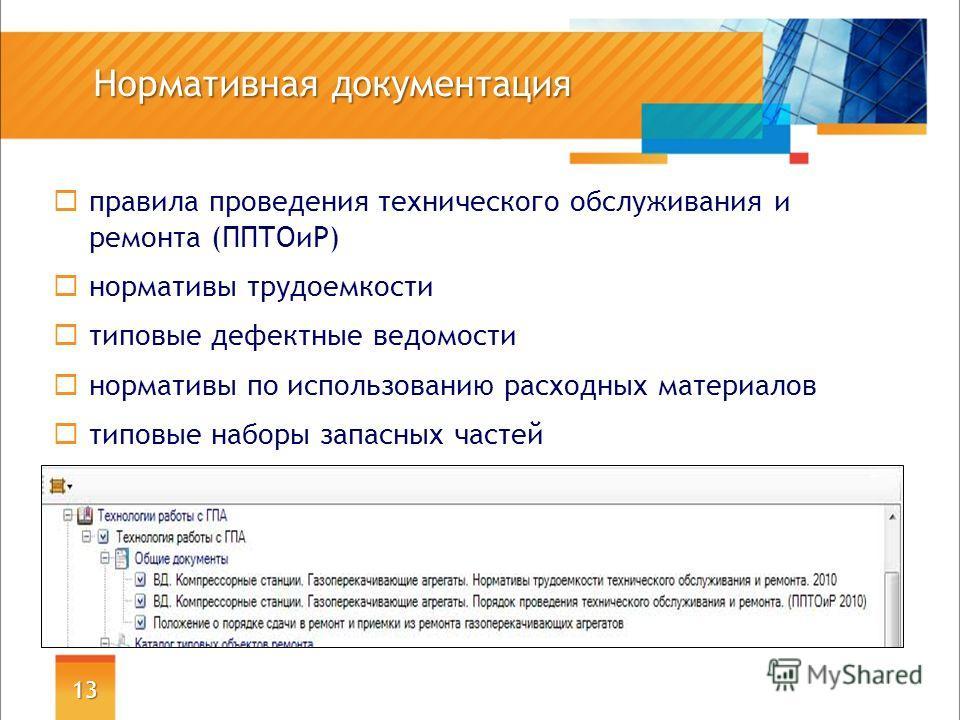 Нормативная документация 13 правила проведения технического обслуживания и ремонта (ППТОиР) нормативы трудоемкости типовые дефектные ведомости нормативы по использованию расходных материалов типовые наборы запасных частей