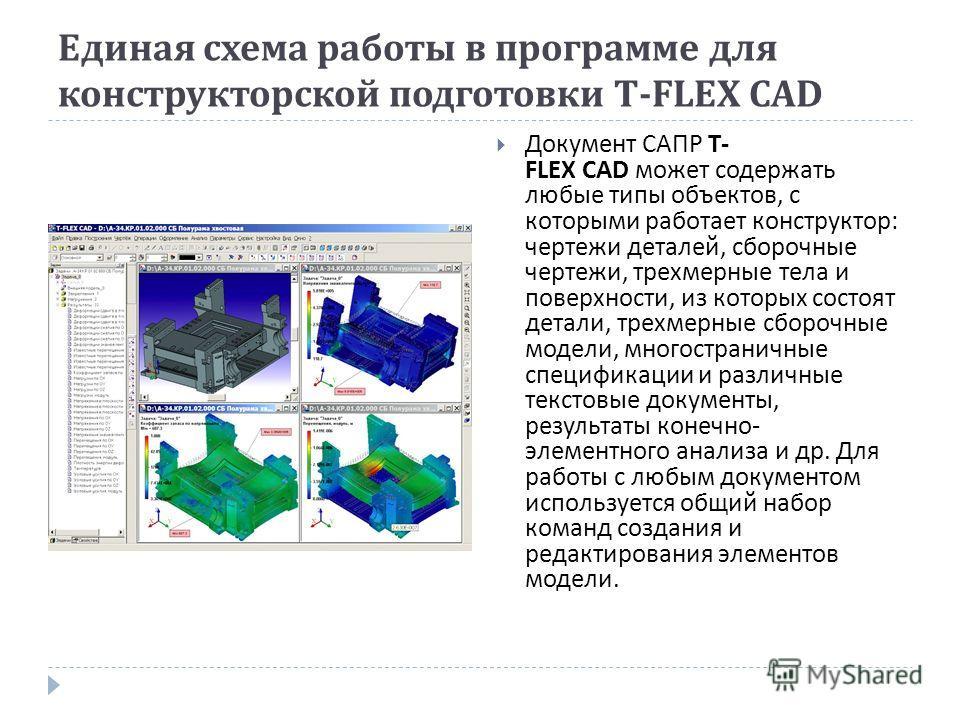 Единая схема работы в программе для конструкторской подготовки T-FLEX CAD Документ САПР T- FLEX CAD может содержать любые типы объектов, с которыми работает конструктор : чертежи деталей, сборочные чертежи, трехмерные тела и поверхности, из которых с