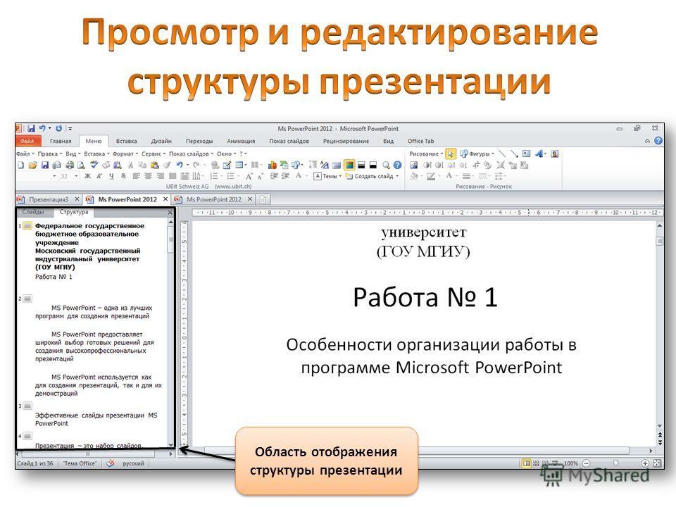 Область отображения структуры презентации