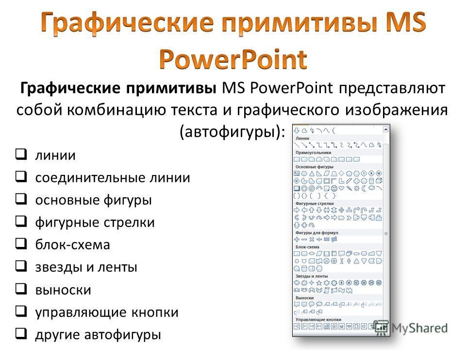 Графические примитивы MS PowerPoint представляют собой комбинацию текста и графического изображения (автофигуры): линии соединительные линии основные фигуры фигурные стрелки блок-схема звезды и ленты выноски управляющие кнопки другие автофигуры