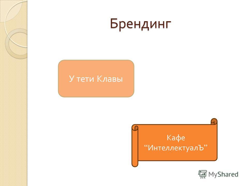 Брендинг У тети Клавы Кафе ИнтеллектуалЪ
