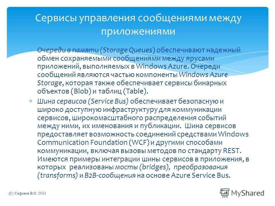 Очереди в памяти (Storage Queues) обеспечивают надежный обмен сохраняемыми сообщениями между ярусами приложений, выполняемых в Windows Azure. Очереди сообщений являются частью компоненты Windows Azure Storage, которая также обеспечивает сервисы бинар