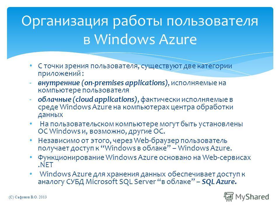 С точки зрения пользователя, существуют две категории приложений : -внутренние (on-premises applications), исполняемые на компьютере пользователя -облачные (cloud applications), фактически исполняемые в среде Windows Azure на компьютерах центра обраб