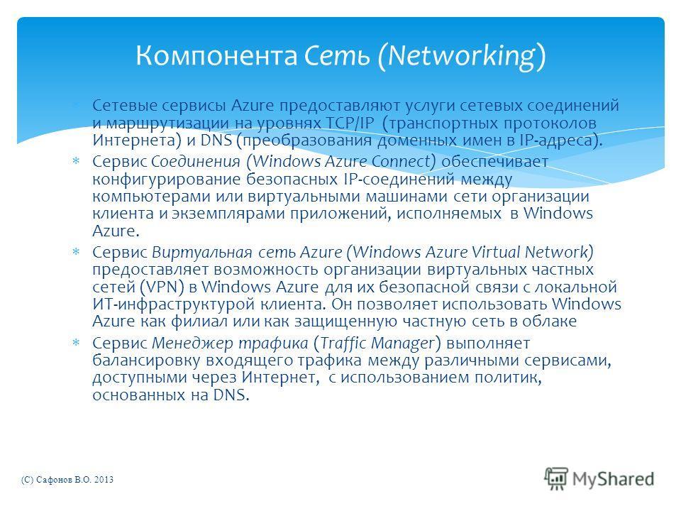 Сетевые сервисы Azure предоставляют услуги сетевых соединений и маршрутизации на уровнях TCP/IP (транспортных протоколов Интернета) и DNS (преобразования доменных имен в IP-адреса). Сервис Соединения (Windows Azure Connect) обеспечивает конфигурирова